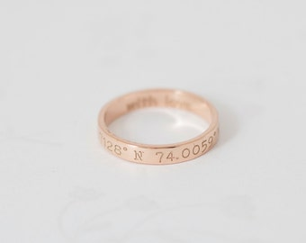 30% OFF- Custom Coordinates Ring- LATITUDE- LONGITUDE Ring- Coordinate Jewelry- Coordinates Ring- Stackable band ring- Mother's Gift