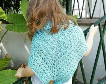 Hand knit shawl, Girls Clothes, Bastian Shawl, Crochet shawl, Kids shawl, Handmade Wrap, Stripped Shawl,