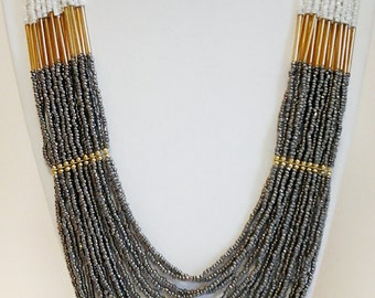 Dark Gray, Beige and Gold Long Statement Necklace / Multi Strand Necklace.