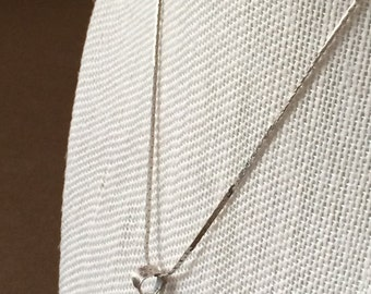 Sterling Silver Necklace With A Large Clear Stone Pendant