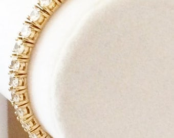 """Sterling Silver Gold Plated And Rhinestone Tennis Bracelet 7"""""""