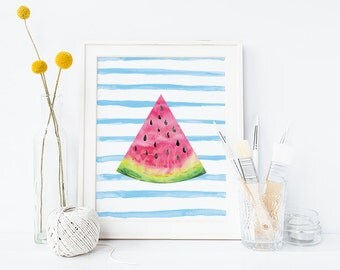 Digital print, bright watercolour watermelon, watercolor print, bright print, summer print, colourful print, instant download