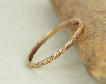 14k Rose Gold Bohemian Ring, Rustic Wedding Ring, Heirloom Quality, Classic 14k Gold Ring, Gold Boho Ring, Rustic Gold Rings, Gold Band, G1