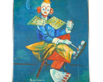 Large Clown Painting 30 x 22 Acrylic Paint Circus Art Vintage Blue Yellow Red Sitting Clown