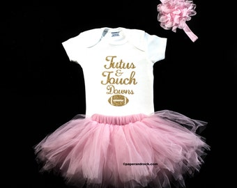 Baby Girl Football Outfit Baby Girl Clothes Tutus and Touchdowns baby girl Superbowl Outfit football baby Girl Superbowl Shirt Girl Outfit
