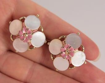 Pink Earrings Vintage Mother of Pearl Pink Flower Earrings Screw Back Jewelry
