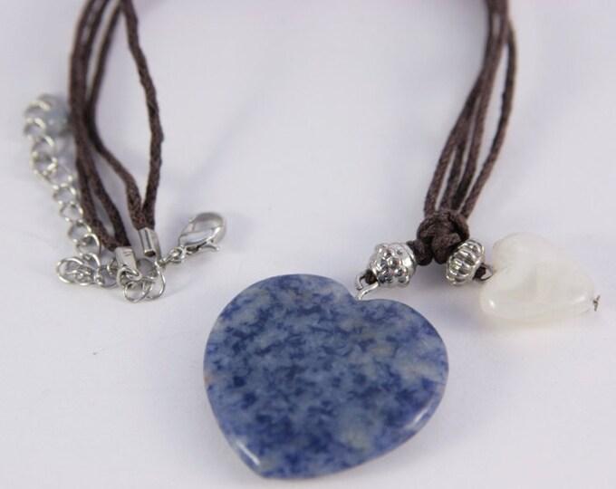 Sodalite Blue Heart Necklace Healt Claming Energy White Quartz Agate Little Heart Pendant Necklace Two Hearts