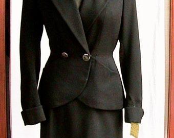 1940s Black Skirt Suit WST044
