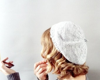wool beret - lambs wool and mohair hand knit 1940s style beret