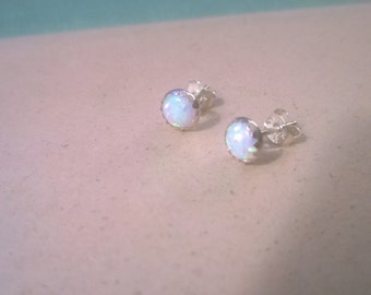 Tiny opal stud earrings sterling silver; round opal stud earrings; opal stud earrings silver; October birthstone