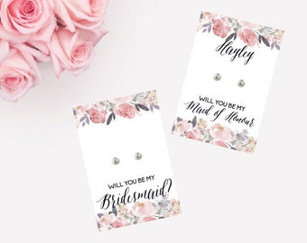 Bow Dainty Earrings - Personalised Bridesmaid Gifts / bridesmaid earrings / bridal party gifts /