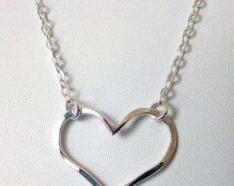 Open Heart Necklace/ Silver Open Heart Necklace/ Fine Silver Heart Pendant/ Hammered Heart Pendant/ Valentines Gifts for Her/