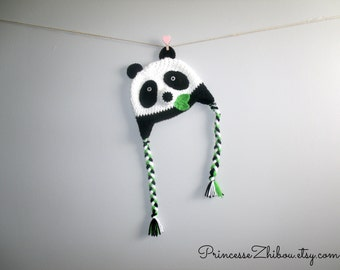 Crocheted panda hat, knitted panda bear beanie, animal cap for babies 0 to 12 months old