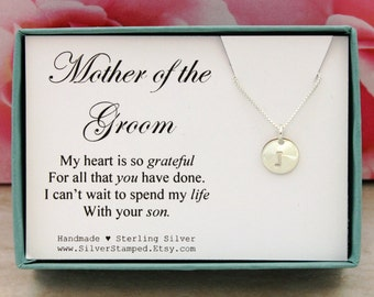 Mother of the Groom gift, sterling silver initial necklace, thank you gift for mother of the groom, personalized gift box, wedding gift