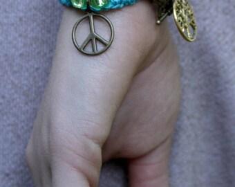 Earthy Beaded Bracelet, Wrap Charm Bracelet, Double Wrap Bracelet, Turquoise Blue Bracelet, Peace Charm Bracelet - 00004