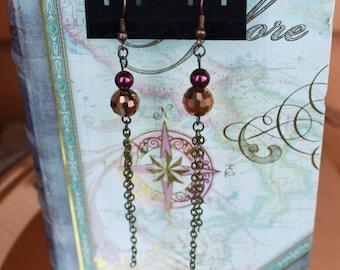 Chain Dangle Earrings, Faceted Beaded Earrings, Burgundy Beaded Earrings, Brown Disco Earrings - 00098