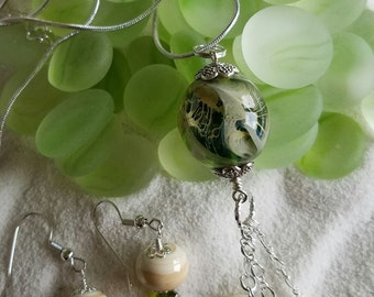 Green and Ivory Necklace with Matching Earrings