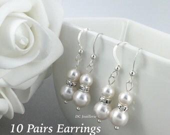 Set of 10 Pairs Swarovski Earring Dangle Earrings Gift for Her Drop Earrings Bridesmaids Gift for Her Bridesmaids Earrings Pearl Jewelry