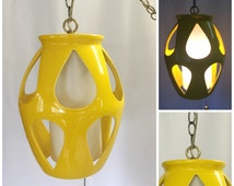 Vintage Retro 1960's Yellow Ceramic Swag Lamp, Mid Century Lamp, Retro Mod Hanging Swag Lamp.