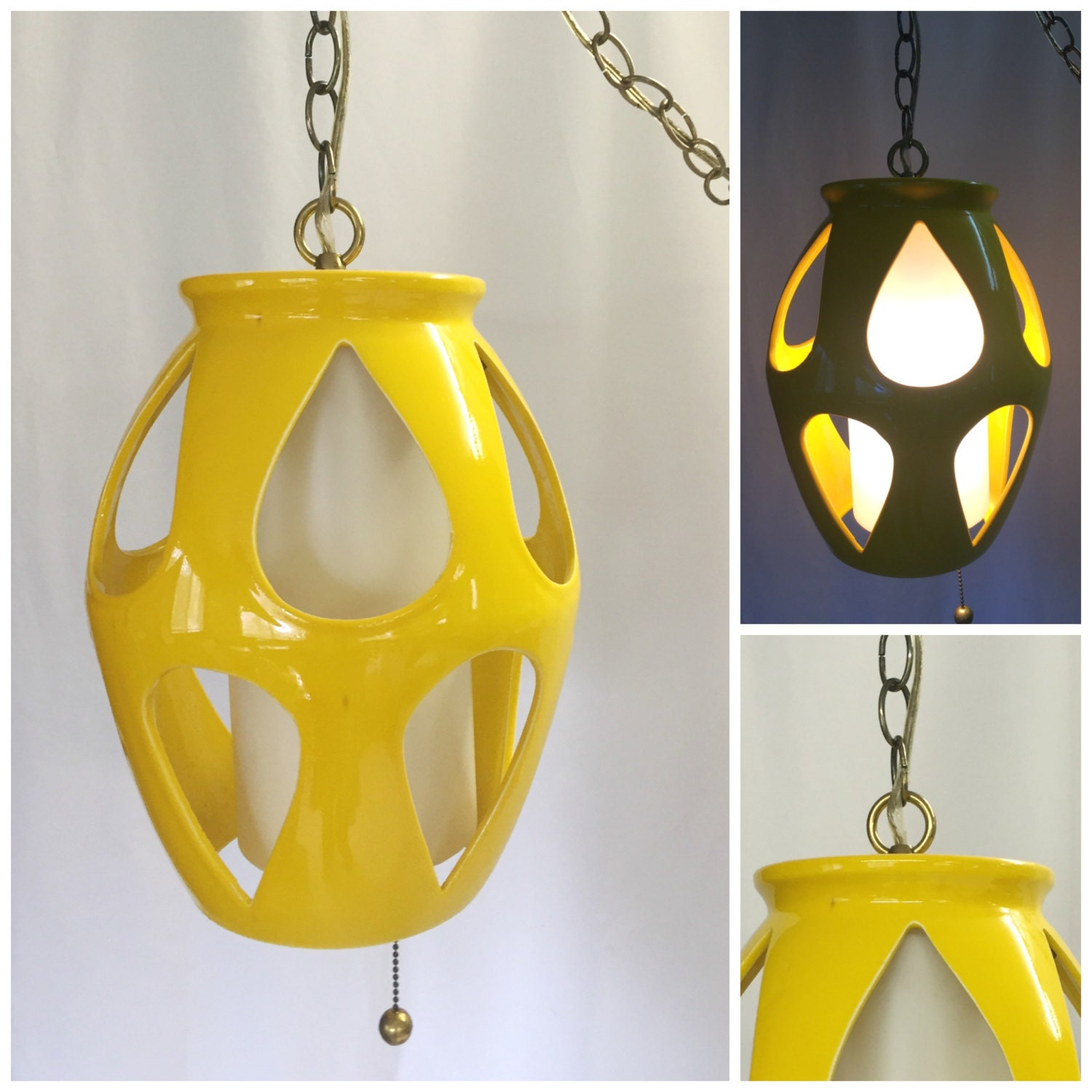 Gallery Of Reserved Vintage Retro Us Yellow Ceramic Swag Lamp With Mid  Century Modern Outdoor Lighting.