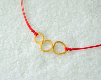 Minimal Gold Circle Necklace, Three Circles Necklace, Handmade Golden Plated Bronze, Hammered texture, Adjustable Cord/ Valentine gift