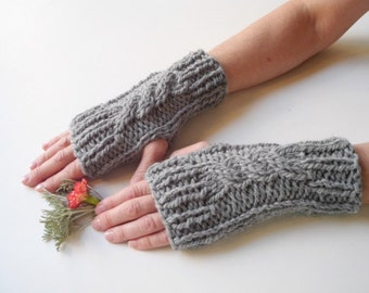 Fingerless gloves Knit gloves knit fingerless gloves crochet gloves gray gloves mittens gloves wool gloves winter arm warmers hand warmers