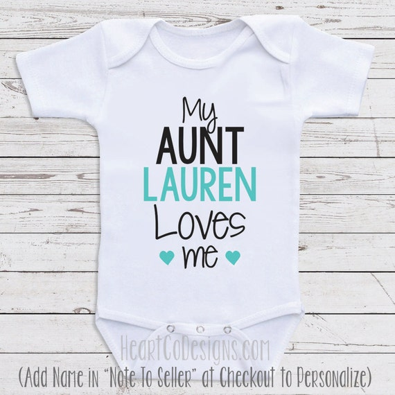 personalized baby clothes my aunt loves me short. Black Bedroom Furniture Sets. Home Design Ideas