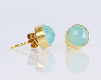 Aqua Chalcedony Gold Vermeil Studs-Aqua Chalcedony Sterling Silver Studs-Aqua Blue Natural Gemstone Round Bezel 9mm Studs-Aqua Gold Studs