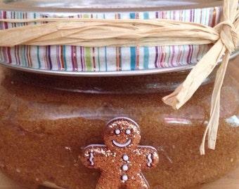 Hostess Gift Organic 8oz Sugar Scrub, Gingerbread Man Christmas Sugar Scrub Organic Coconut Oil Hand and Body Scrub, Bath and Body Works