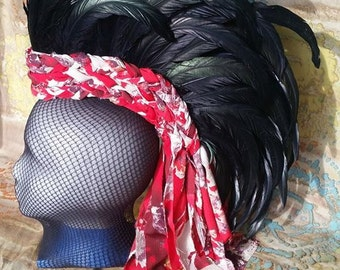 Black and Red Feather Mohawk