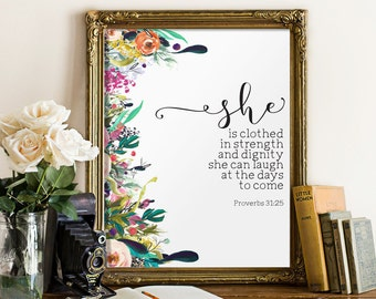 Nursery bible verse art print, She is clothed in strength and dignity, Proverbs 31:25, Scripture art print Nursery wall art Christian BD-573
