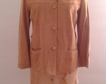 Vintage 1940's Tan Suede Cropped Jacket Sz Small Med Minimalist Rustic Katharine Hepburn
