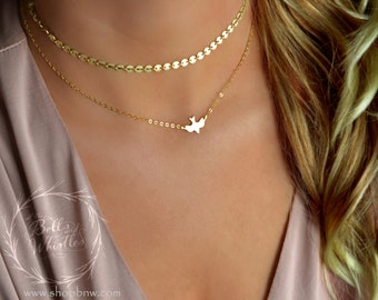 Gold Dove Necklace / Delicate Necklace / Layering Necklace / Gold Bird Necklace / Soaring Dove / Soaring Bird / choker necklace, gold choker