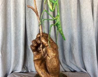 """Praying Mantis Bronze Sculpture, """"Ms. Mantis"""""""
