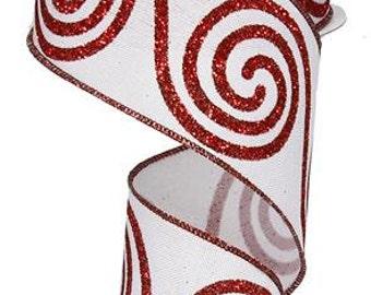 WIRED RIBBON - ribbon - White Ribbon - Christmas Ribbon -Wreath - Floral - RG0140967