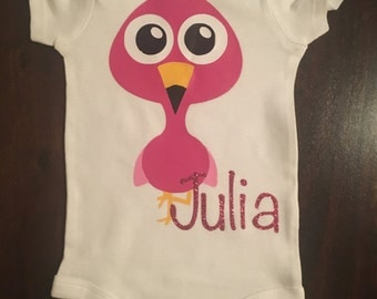 Pink Flamingo Onesie - Customized with Name
