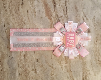 Baby Shower Corsage, Baby Girl Pin, Its A Girl Corsage, Mom To Be