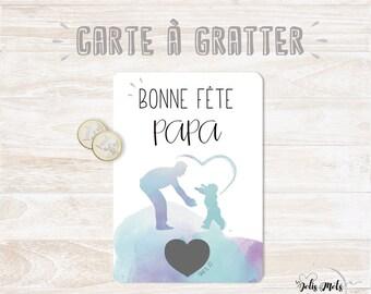 Postcard scratch - BONNE FÊTE PAPA with envelope