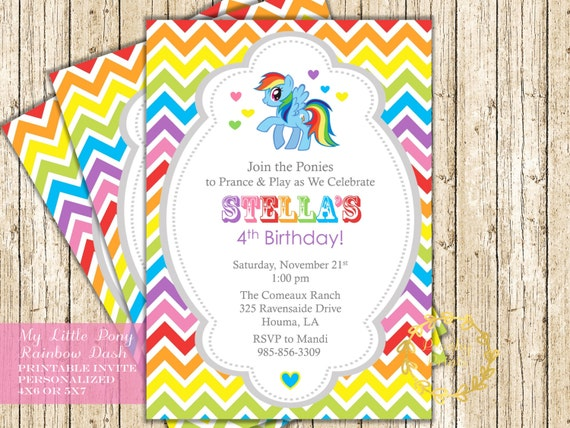 My Little Pony Invitation Party Rainbow Dash By