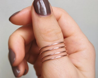 Rose Gold Thumb Ring, Twist thumb ring, Rose gold ring, Swirl thumb ring, Adjustable wire ring, Plain thumb ring, Spiral thumb ring, Silver