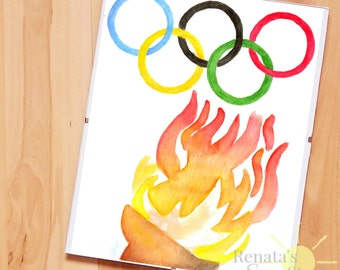 Olympic games Olympics logo Wall art olympic torch olympics rings Watercolor printable Sport Digital print Olympic party Summer 8x10 ID12-81