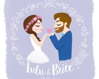 Portrait custom of bride and groom