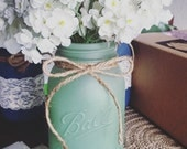 Seafoam Decorative Mason Jar/ Beach House Home Decor/ Dorm Room/ Rustic Wedding Centerpiece/ Rustic Marine Vase/ Green Decor