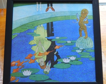 Reflecting Pool Romantic / Whimsical Framed 12x12 Art Print (1960s)