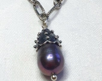 Purple Pearl, Sterling Silver Necklace