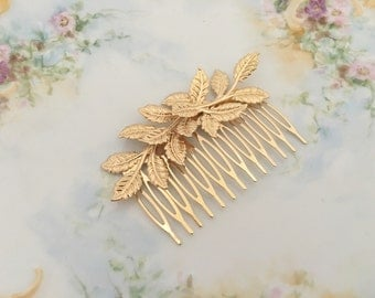 Gold Leaf Hair Comb.Gold Branch Hair Comb.Gold Leaf Bridal headpiece.Leaf fascinator.Gold Leaf hair accessory.wedding hair piece.Grecian