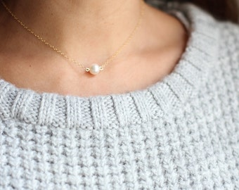 Single Pearl Choker Necklace - Gold Fill or Sterling Silver