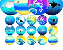 Ocean and Fish 1.5 inch Icon Images - Printable Collage Page of Circles - Dolphin, whale, shark, shell, tuna. INSTANT DIGITAL DOWNLOAD