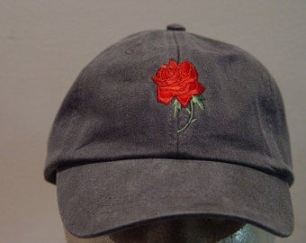 RED ROSE June Flower of Month Hat - Embroidered Women Garden Cap - 24 Colors Available - Price Apparel Embroidery