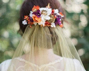 fall hair clip, autumn hair comb, fall hair accessories, orange and purple, floral hair clip, gold and orange, fall wedding, floral hair